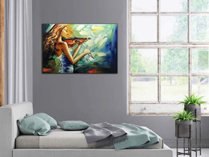 Living Room Canvas Beautiful Slim Girl Put Her Back into Playing Violin