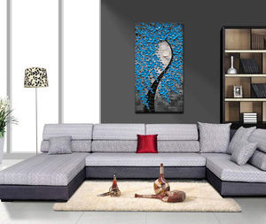 Blue Canvas Art Grey Background Vertical Flower Tree for Hallway