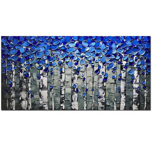 Blue and Grey Abstract Clear Texture Wall Art for Bedroom