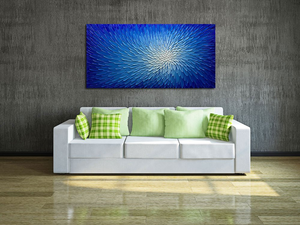 Canvas Art Blue to White Gradient Thick Oil Clearly Texture