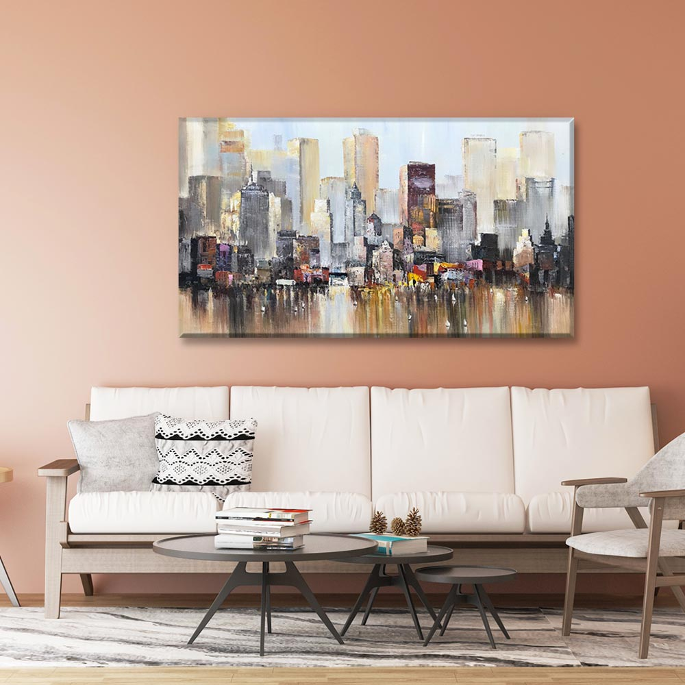 Buy Art Online Abstract Fuzzy Tall Buildings Reflected in the Water