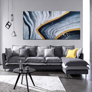 Wall Art Decor for Living Room Hand Painted Abstract Hierarchical Lines