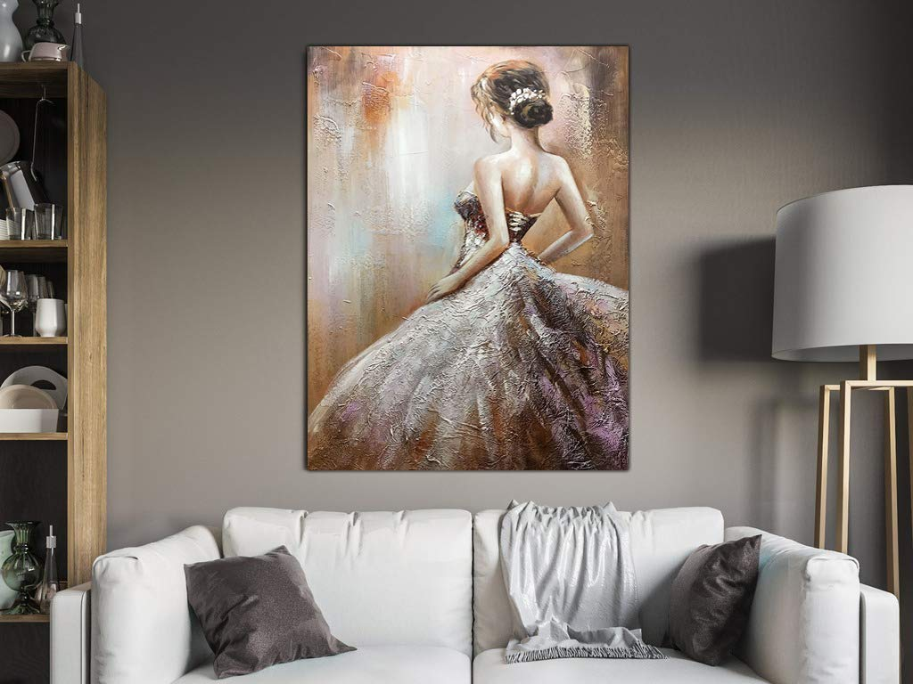Buy Art Online Handcrafted Vertical Canvas Painting Elegant Girl on the Back