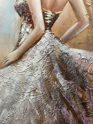 Big Paintings for Living Room Elegant Girl Clearly Texture Acrylic On Canvas
