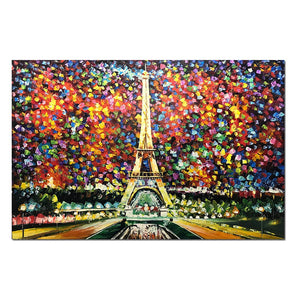 Colorful Canvas Art Eiffel Tower Oil Paintings Thick Oil No Fade