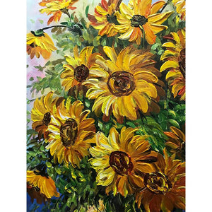 Yellow Sunflower Bouquet in the Vase Hand Painted Canvas Art Wall Art