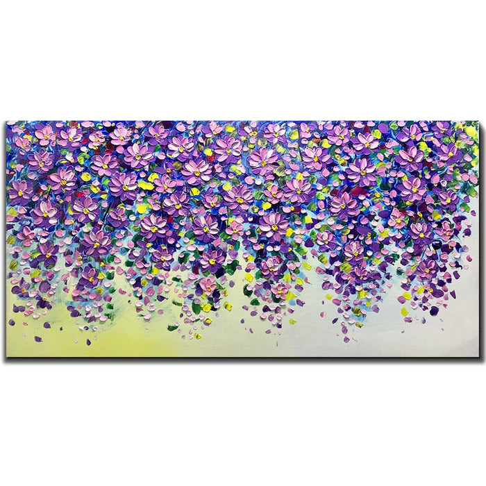 Oil on Canvas Abstract Purple Falling Flower Decor Home Update Style