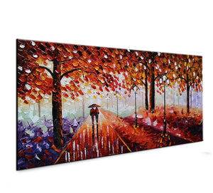 Canvas on Wall Maple Forest Lovers Walking in the Rain Oil Paintings