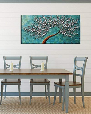 Canvas Painting Wall Decor Light Grey Petals Blue Background Flower Tree