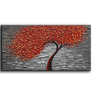 Canvas Wall Art for Living Room Red Petals Grey White Clearly Textured