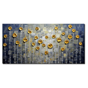 Abstract Gold Golden Dots Silver Bamboo Canvas Wall Murals