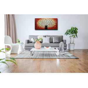 White Petal Red Background 3D Hand Painted Canvas Wall Paintings