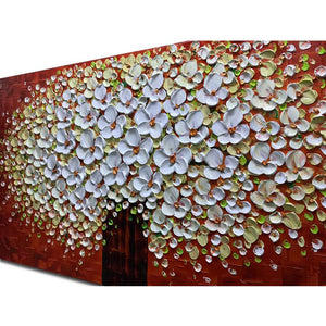 20*40inch Save $9 ($59.99 on Amazon) White Oval Flower Tree Oil Paintings Framed Ready to Hang (Only for US)
