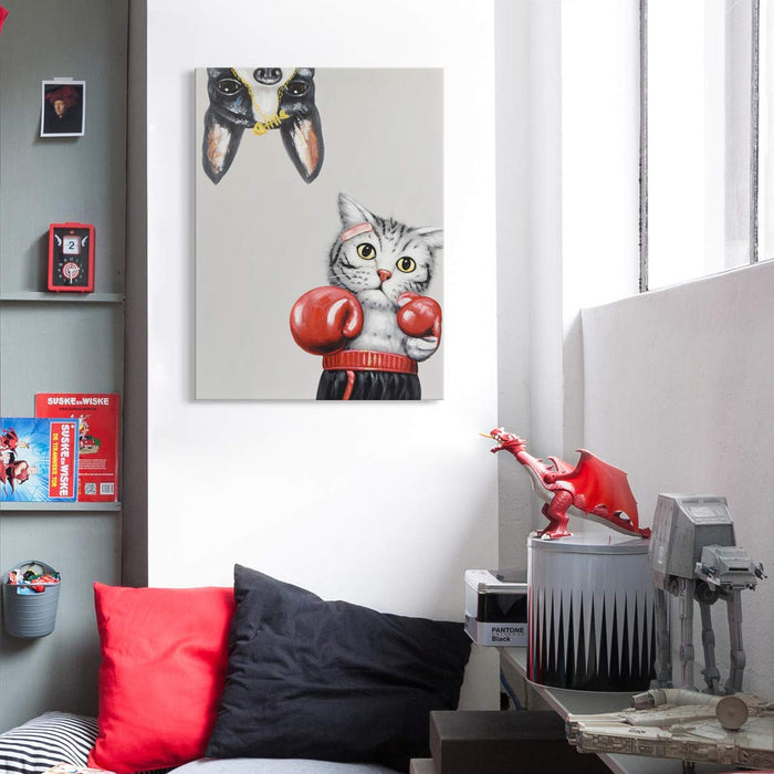 Original Canvas Wall Art Cat with Boxing Sleeve Dog  Decor Living Room