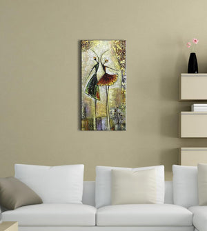Two Slim Ladies Dance Together Canvas Artwork Decor Living Room