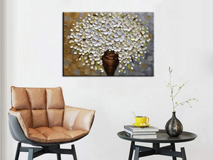 Cheap Modern Art Waterproof White Flower Canvas Painting Decor Bedroom