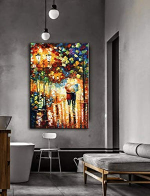 Cheap Art Canvas Rainy Night Lovers Walk In Park Colorful Vertical Paintings Gift for Spouse