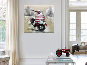 40x40 Canvas Art Motorcycle in City Handmade Painting Artwork Decor Bedroom