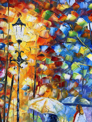 Colorful Paintings on Canvas Friends Free Walk in Night Rainy Park 100% Handcrafted Art