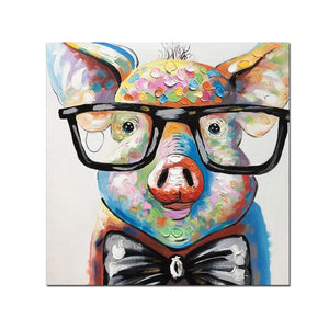 Contemporary Art Painting Pig with Glasses UnFramed Canvas Decor Bedroom