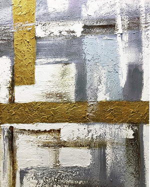 Contemporary Canvas Paintings Abstract Gold White Grey Thick Oil Wall Artwork