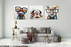 Living Room Art Decor Frog with Glasses Canvas Painting 100% Handmade