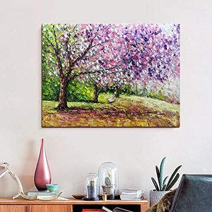 Contemporary Flower Paintings Pink Cherry Tree Handcrafted Canvas Artwork