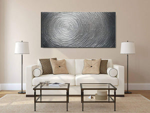Large Modern Painting 32*64 inch Big Multi-Silver Circle Wall Art Decor Wall