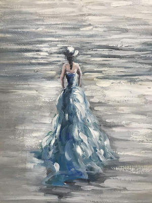 Decorative Canvas Beautiful Woman Blue Dress Walks towards Sea Perfect as Gift
