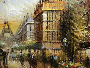 Original Art Painting Retro Romantic Paris Street Building Canvas Art As Gift