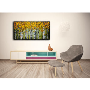 100% Handmade Yellow Maple Forest Green Trunk Bedroom Wall Art