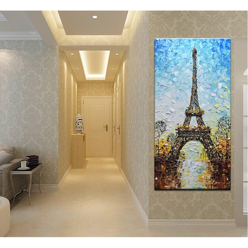 Hand Painted Blue Sky Street 3D Eiffel Tower Canvas Art
