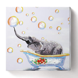 Elephant Canvas Painting Little Lovely Elephant Play Bubble Bath Crock Decor Baby Room
