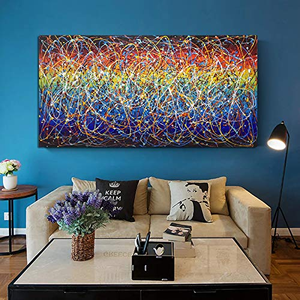 Extra Large Artwork Canvas Painting Colorful Messy Clew for Living Room
