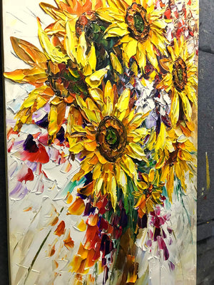 Extra Large Painting Canvas Yellow Sunflower Bouquet Acrylic Knife Painting