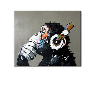 Cheap Original Art Thinking Monkey Wears Headphone Canvas Painting Gift to Family
