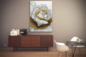 Extra Large Canvas Wall Art Giant Single White and Gold Flower Oil Painting