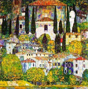 Fine Art Painting Replication Gustav Klimt Chiesa a Cassone