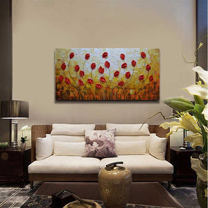 Hand Painted Floral Canvas Art Warm Decor Bedroom Kitchen