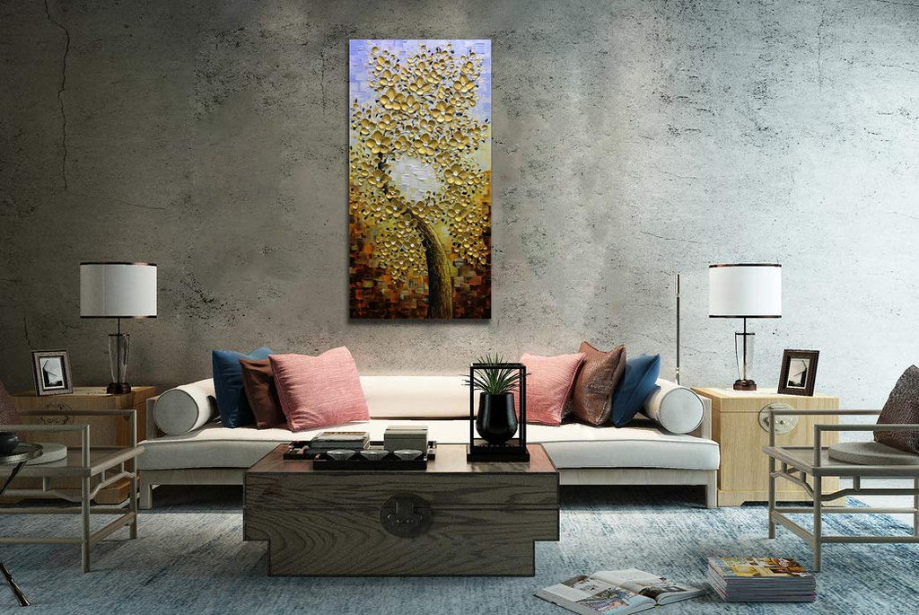 Floral Oil Painting Gold Petals Vertical Flower Tree Canvas Art for Wall