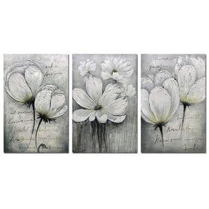 Flower Art Paintings Three Panels Large White Floral Decor Living Room