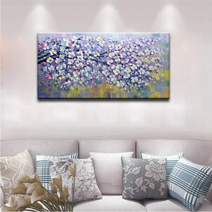 Purple White Star Shaped Floral Painting Perfect for Bedroom