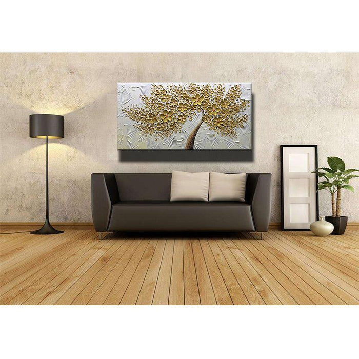 Gold Flower Brown Trunks Circular Texture Floral Wall Art