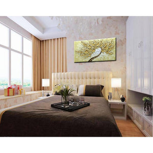 Floral Canvas Painting Gold Flower Tree Decor Living Room Family Room