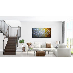 Abstract White Petals Flower Painting Decor Bedroom and Fireplace