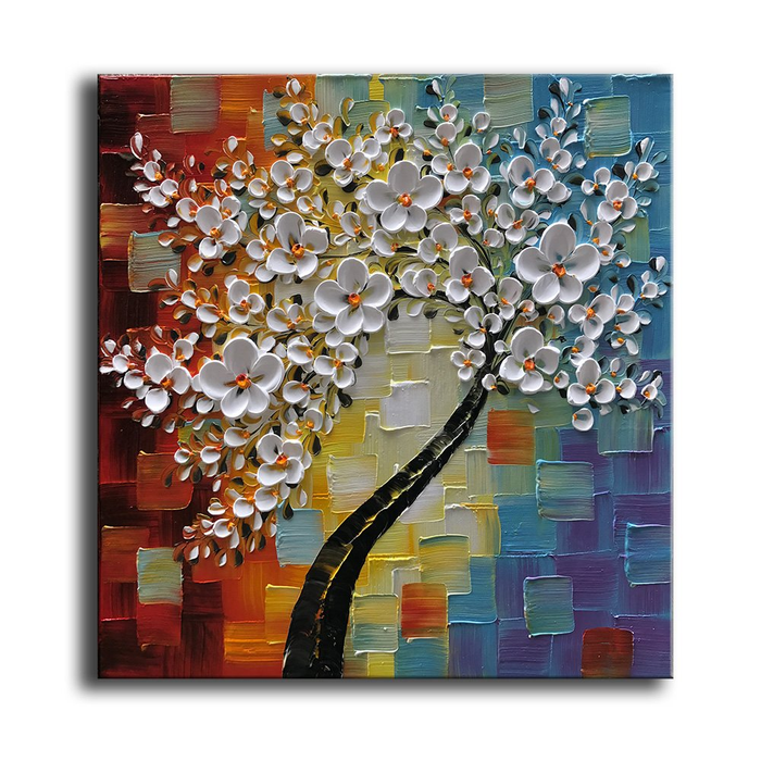 Giant Wall Art Square Flower Canvas Paintings 100% Hand Painted
