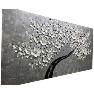 Modern Gray Background Wall Art White Flower Tree for Family Room