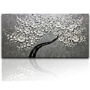 White Petals Gray Background Oversized Hand Painted Grey Wall Art