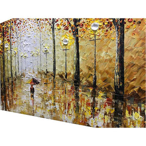 Fall Girl with Umbrella Walking on Street Hand Painted Canvas Wall Art
