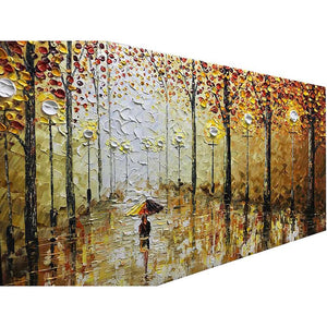 Canvas Wall Art Autumn Rainy Evening Elegant Girl Walk on Street